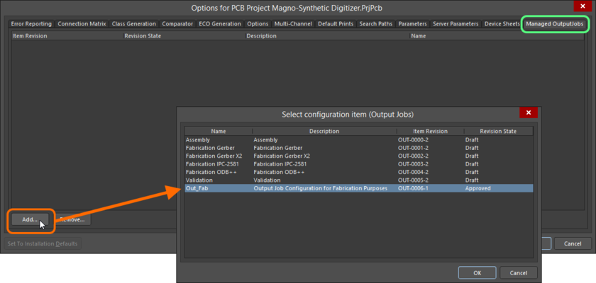 Manually choosing a revision of an Outputjob Item from within the Managed OutputJobs tab of the Project Options dialog.