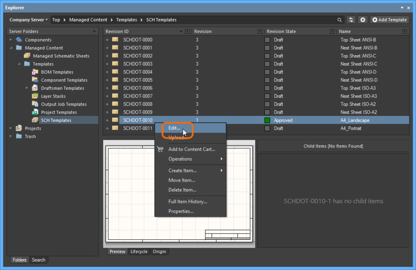 Accessing the command to launch direct editing of an existing revision of a Schematic Template Item.
