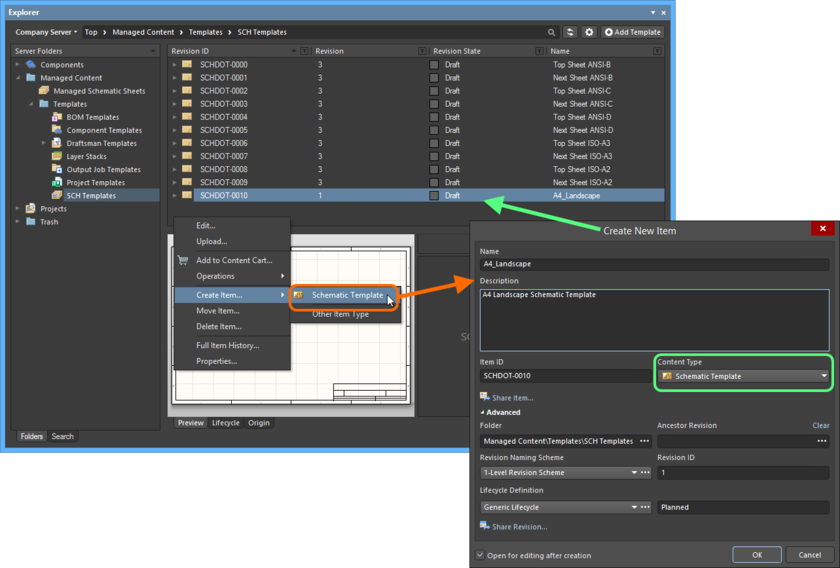Creating a Schematic Template Item within a Schematic Templates folder - the correct Content Type is available on the context menu.