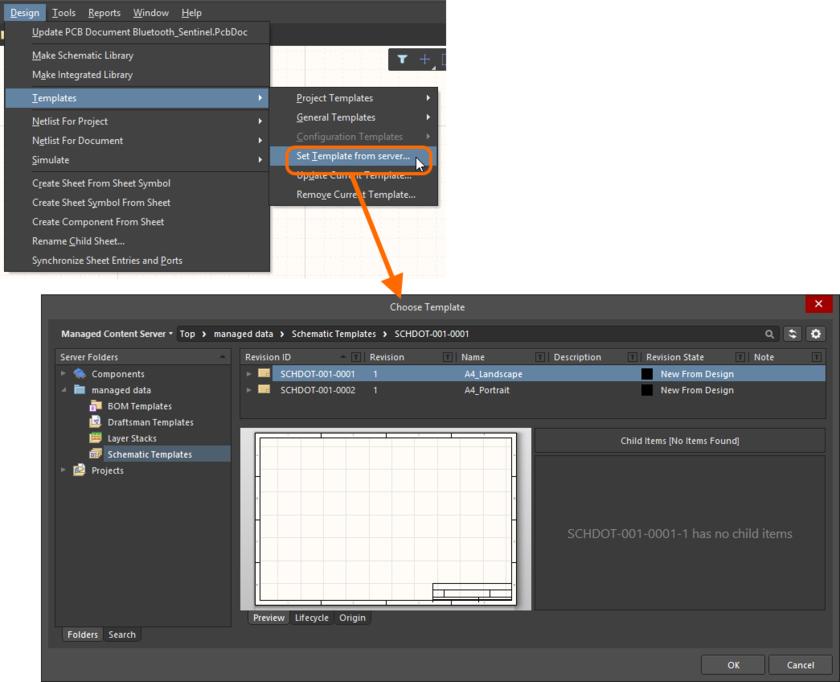 Используйте команду Set Template from server, чтобы вручную задать повторное использование управляемых шаблонов схем (или для переключения между ними), которые доступны вам.