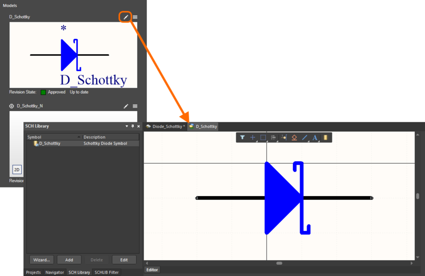 An example of direct editing an existing model that is being referenced by a component that is itself being directly edited, using the Component Editor in its Single Component Editing mode.