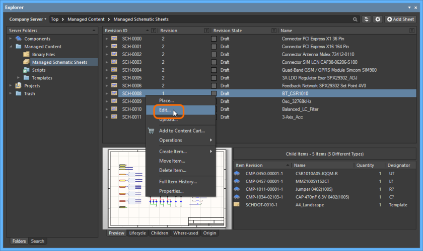 Accessing the command to launch direct editing of an existing revision of a Managed Schematic Sheet Item.