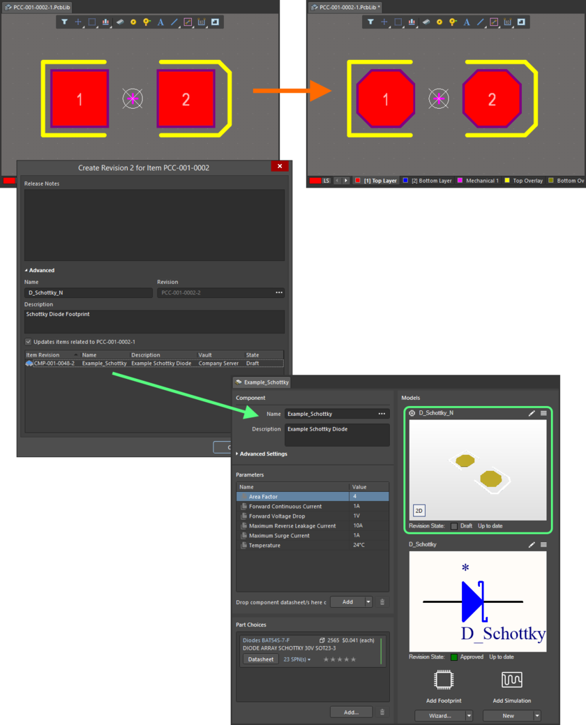Example of pushing a change made to a Footprint Item, through to a single Component Item Revision that references it.