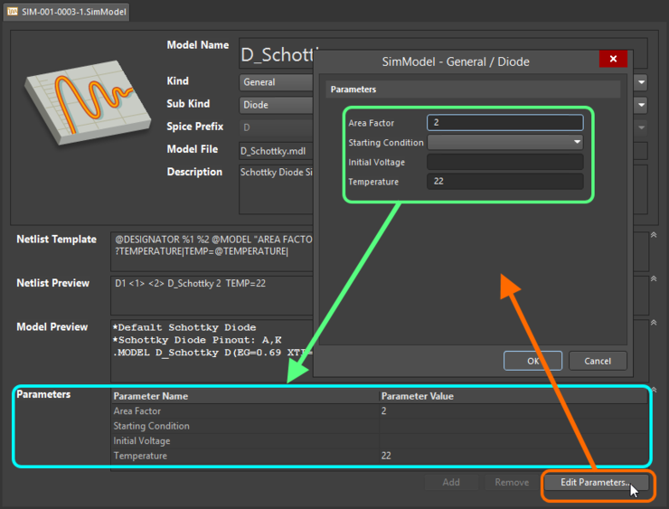 Define parameters for the model as part of its definition - either directly using in-place editing, or through the SimModel Parameters dialog.
