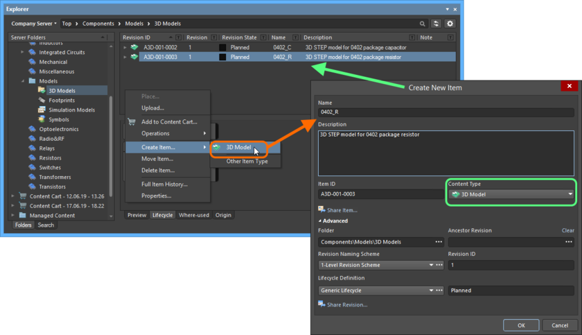Creating a 3D Model Item within a 3D Models folder - the correct Content Type is available on the context menu.
