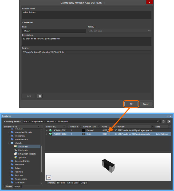 Browse the released revision of the 3D Model Item, back in the Explorer panel. Switch to the Preview aspect view tab to see its graphical depiction.