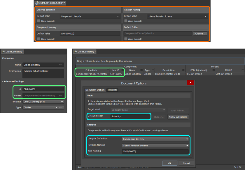 When the template is referenced, the entries are used to pre-fill the applicable fields when editing a component in the Component Editor in Single Component Editing mode (left) and Batch Component Editing mode (right).