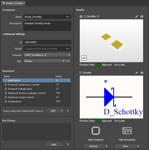 Example component created after launching the item-less component creation mode from a folder (Schottky) that has a component template assigned to it. The component is defined with the information from the template. Roll over the image to see the referenced Component Template.