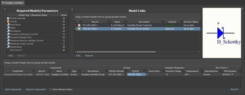 Example showing definition of a component, with the Component Editor in its Batch Component Editing mode. While you can use this mode to edit a single component (as shown), its power really comes when editing multiple components that share the same parameters and models.