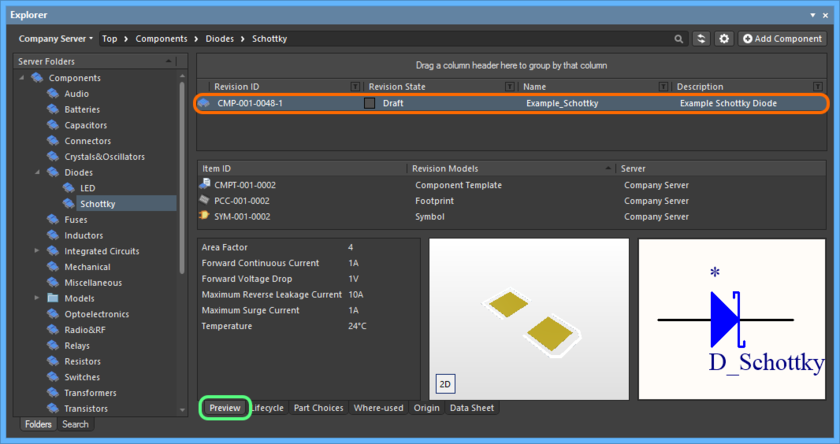 Browse the released revision of the Component Item, back in the Explorer panel. Switch to the Preview aspect view tab to see information including referenced models, component template (if used) and parametric information.