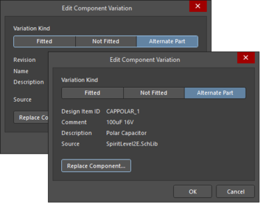 The Edit Component Variation dialog with Alternate Part selected, and Use server Component unchecked
