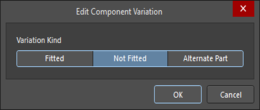 The Edit Component Variation dialog with Alternate Part selected, and Use server Component checked
