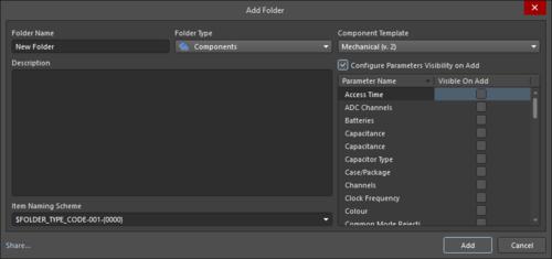 Three variations of the Folder Properties dialog: Edit Folder,Add Folder, and Add Folder(with Components Folder Type)