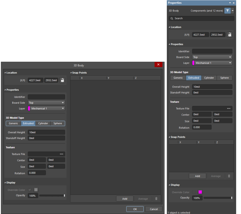 The 3D Bodydialog on the left and the 3D Body mode of the Properties panel on the right
