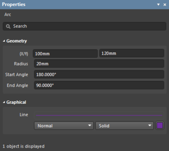 The Arc object default settings in the Preferences dialogand the Arc mode of the Properties panel.