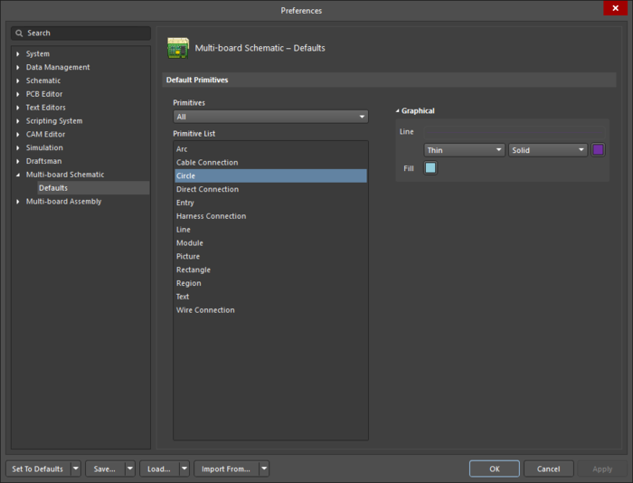 The Circle object default settings in the Preferences dialogand the Circle mode of the Properties panel
