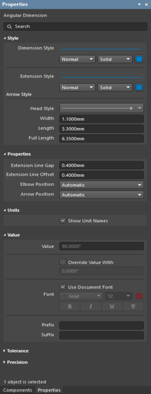 The Angular Dimension settings in the Preferences dialog, and the Angular Dimension mode of the Properties panel