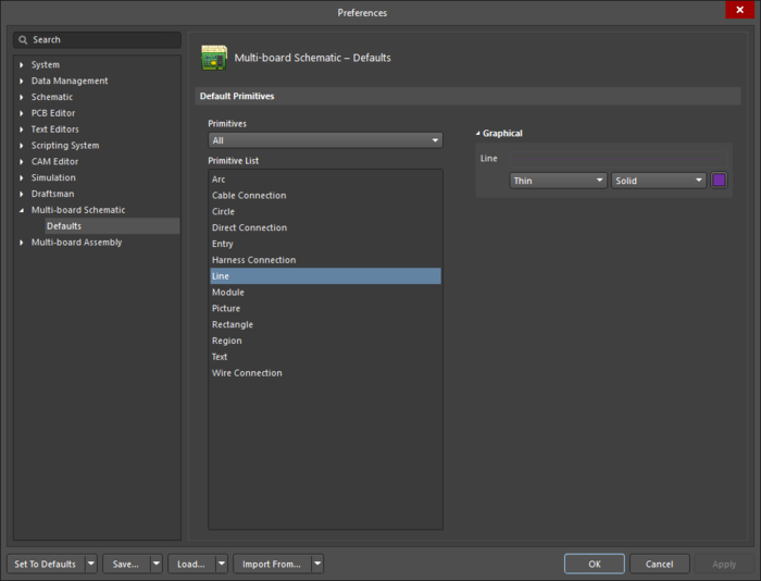 The Line object default settings in the Preferences dialog, and the Line mode of the Properties panel