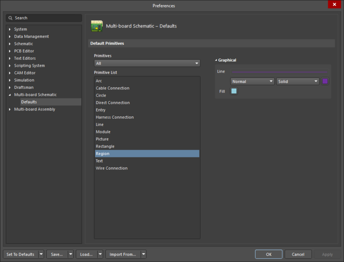 The Region object default settings in the Preferences dialog, and the Region mode of the Properties panel