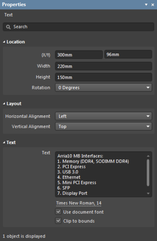 The Text object default settings in the Preferences dialog and the Text mode of the Properties panel