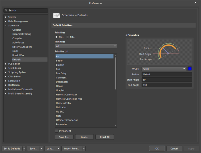 The Arcdefault settings in thePreferences dialog and the Arc mode of the Properties panel