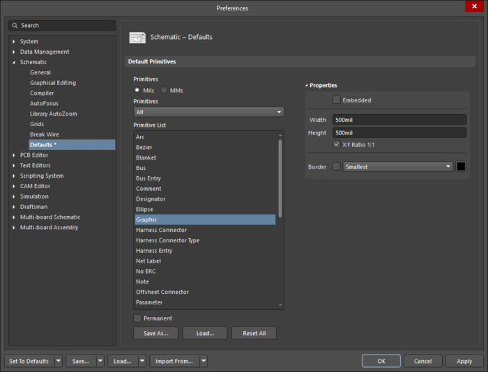 The Graphicdefault settings in thePreferences dialog and the Imagemode of the Properties panel