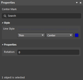 The Center Mark object default settings in the Preferences dialog and the Center Mark mode of the Properties panel