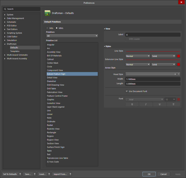 The Datum Feature Sign object default settings in the Preferences dialog, and the Datum Feature mode of the Properties panel.