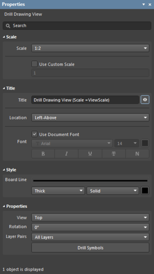 The Drill Drawing View default settings in the Preferences dialog, and the Drill Drawing View mode of the Properties panel.