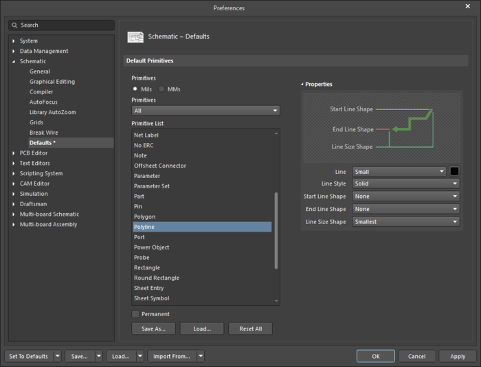 The Polylinedefault settings in thePreferences dialog and the Polylinemode of the Properties panel