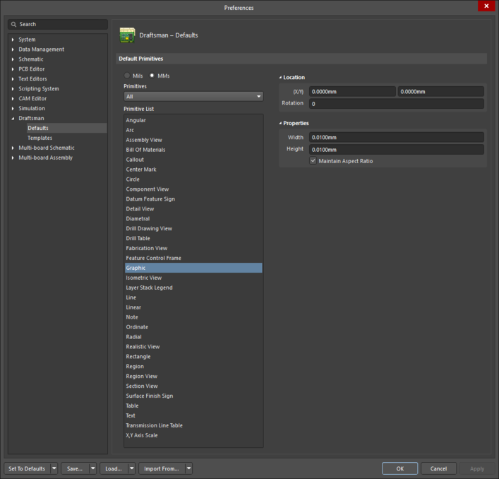 The Graphic object default settings in the Preferences dialogand the Graphic mode of the Properties panel