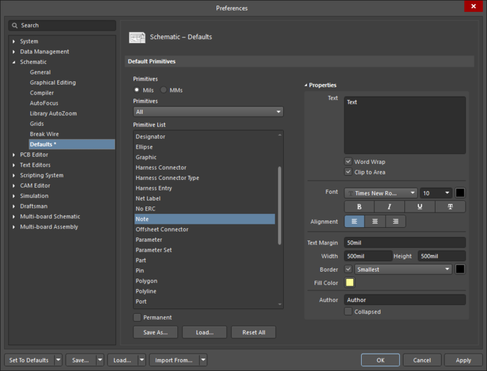 The Notedefault settings in thePreferences dialog and the Notemode of the Properties panel