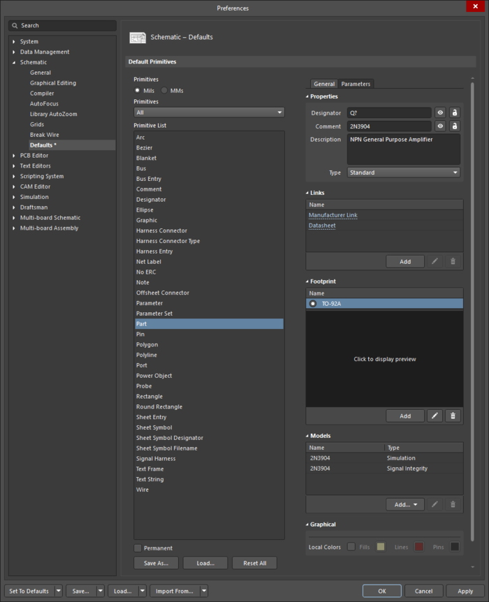 The Partdefault settings in thePreferences dialog and the Componentmode of the Properties panel