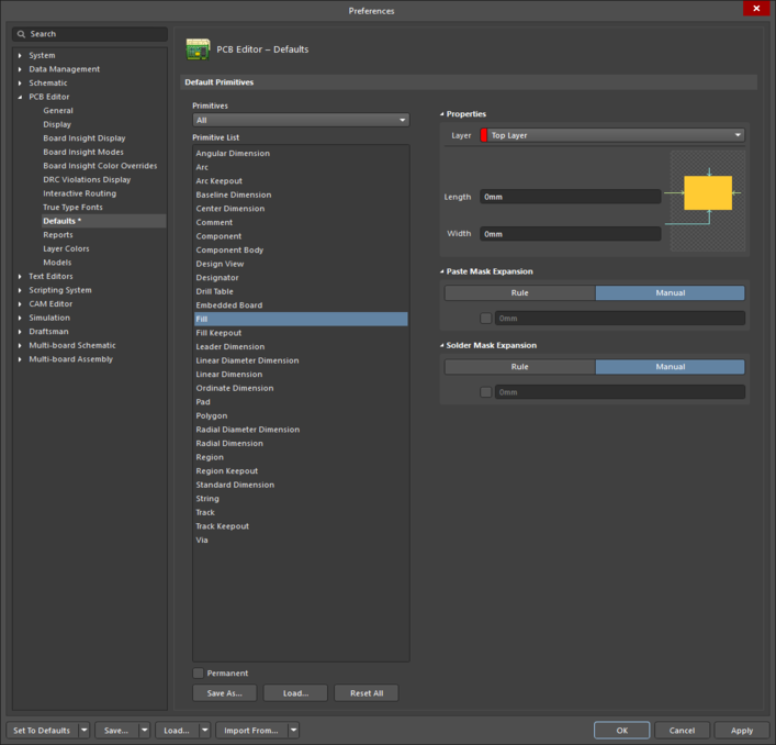 The Filldefault settings in thePreferences dialog and the Fillmode of the Properties panel