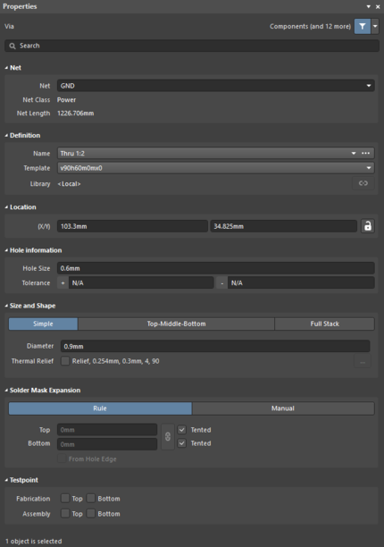 The Viadefault settings in thePreferences dialog and the Viamode of the Properties panel