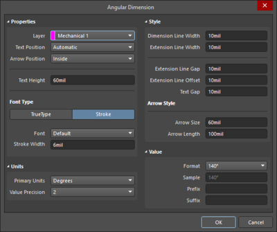 The Angular Dimension dialog on the left and the Angular Dimension mode of the Properties panel on the right.