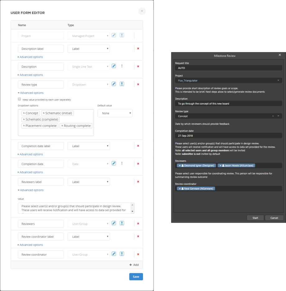 The user form for a design review shown on the left, designed in the NEXUS Server as part of the initiated process's underlying workflow definition. It presents in Altium NEXUS as a dialog (on the right) for the designer to complete when that design review process is initiated.
