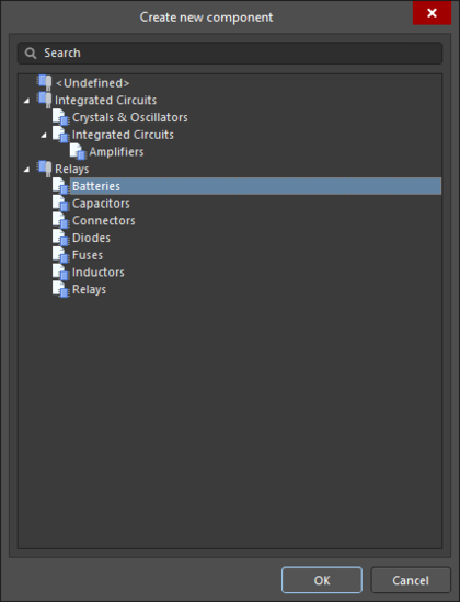 The Create new component dialog