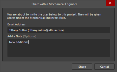 TheShare with a Mechanical Engineer dialog
