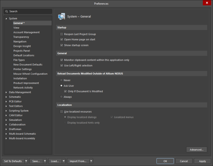 The System - General page of the Preferences dialog