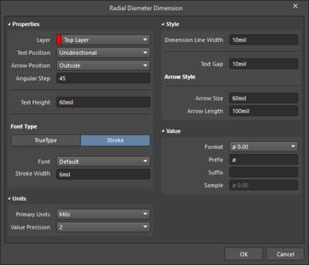 The Radial Diameter Dimension dialog on the left and the Radial Diameter Dimension mode of the Properties panel on the right.