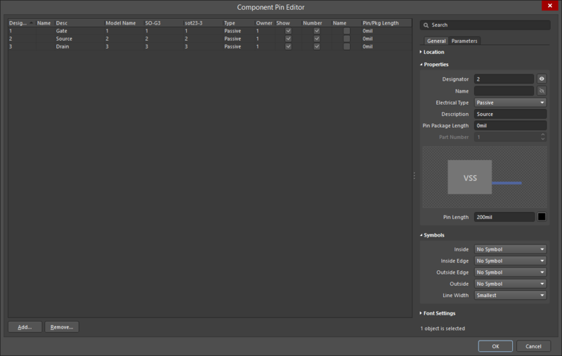 Use the Component Pin Editor dialog to add (or edit) pins.