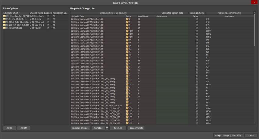 В диалоговом окне Board Level Annotate отображены все документы схем проекта.