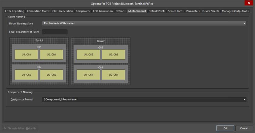 Вкладка Multi-Channel позволяет гибко настраивать форматы имен по умолчанию в многоканальных проектах.