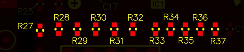 Ряд резисторов, которые были повторно аннотированы на основе положения. Обратите внимание, что R27 сохранил последовательность аннотирования, хотя он находится ниже, чем другие резисторы.