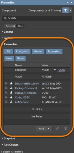 Left: Component user parameters in the Properties panel (Parameters tab). Right: An individual system parameter in the Properties panel.