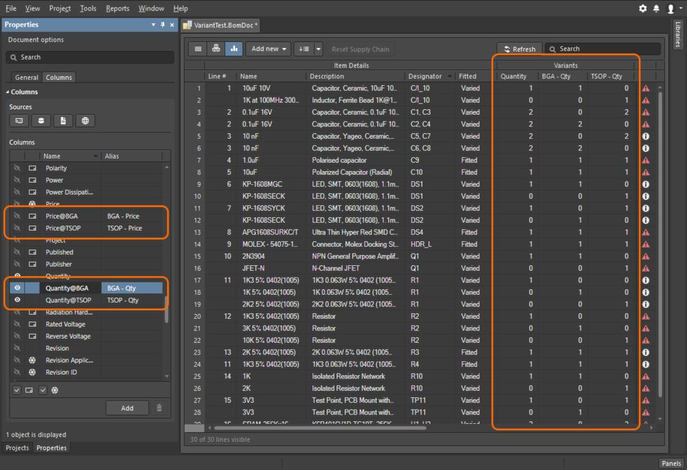 ActiveBOM includes a consolidated view mode, use this to include all parts used in all variants, into a single BOM