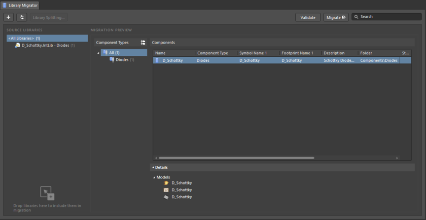 The Library Migrator in its Advanced mode - the full user interface to the component migration process.