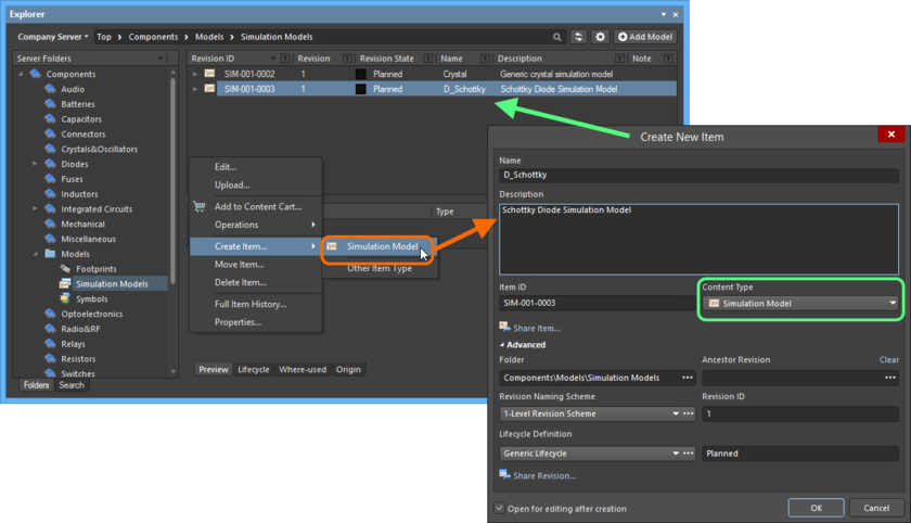 Creating a Simulation Model Item within a Simulation Models folder - the correct Content Type is available on the context menu.