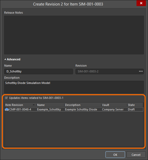 Accessing the option to update related Component Items, that are referencing the Simulation Model Item being re-released.